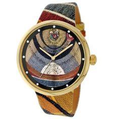 Gattinoni Women's W0196JGTGAT Virgo IP Gold 12 Zyrcons Planetarium Leather Watch