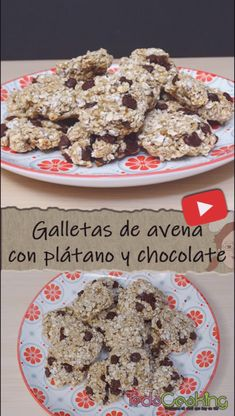 Delicious Homemade Oatmeal Cookies with Banana and Chocolate, HEALTHY With just three ingredien Homemade Oatmeal Cookies, Healthy Dessert Options, Snacks Saludables, Health Snacks, Different Recipes, Food Cravings, Rice Krispies, Galletas Cookies, Food And Drink