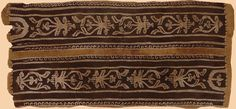 Egyptt, Alexandria, Type: border fragment, Period: 3th Century Warp: Linen and wool pattern weft on a wool warp in slit tapestry technique with some curved wefting. 14-15 warps/cm. Colors: Brick red, brown-black, beige, olive brown, rust red.