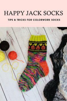 Stranded Colorwork Sock Knitting Tutorial – Yarn Love Halloween Socks, Halloween Crafts, Jack Sock, Stitch Patterns, Knitting Patterns, Custom Socks, Sock Knitting, Quick Knits, Knitting Accessories