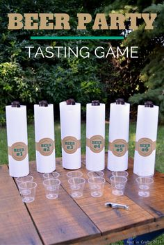 Beer party tasting game set up