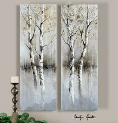 birch tree panels, wall art