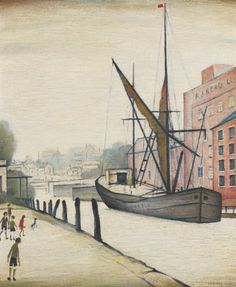 Laurence Stephen Lowry The Barge 1948 by 51 cm) Nostalgic Art, Modern Pop Art, Nautical Art, Great Paintings, Naive Art, Banksy, Sculpture Art, Folk Art, Art Gallery