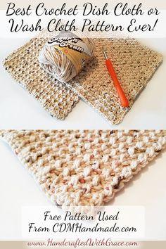 Granny Squares Crochet Best Crochet Dish Cloth or Wash Cloth Pattern Ever Granny Square Häkelanleitung, Granny Square Crochet Pattern, Crochet Granny, Granny Squares, Crochet Simple, Knit Or Crochet, Dishcloth Crochet, Crochet Bowl, Crochet Designs