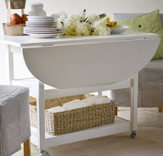 Ana White | Build a Drop Leaf Round Storage Table | Free and Easy DIY Project and Furniture Plans