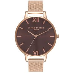 Olivia Burton Big Brown Dial Mesh Watch - Rose Gold (8,195 INR) ❤ liked on Polyvore featuring jewelry, watches, accessories, rose gold, rose gold jewellery, vintage wristwatches, red gold jewelry, vintage jewelry and quartz movement watches