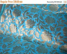15% OFF Silk Brocade Fabric Turquoise Blue and Gold woven roses - Pure Banarasi Fabric - jacquard fabric- Indian Silk, Wedding Dress Fabric