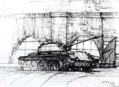 Tank form WW II in Cytadela Park in Poznan, Poland. Plain Air drawing for DOMIN Poznan drawing school.   http://nauka-rysunku.pl/