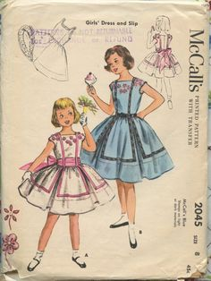 1950s McCalls 2045 Vintage Childs Dress Pattern Girls Full Skirt Party Flower Girl Dress and Slip with Under Ruffle Size 8 Breast 26. $12.00, via Etsy.