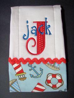 Applique Monogrammed Nautical Beach Baby Bib & Burp Cloth Set by BlumersEmbroidery on Etsy