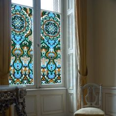Site that sells fantastic window clings - might go this route for glass bathroom door - Model Home Interior Design Stained Glass Window Film, Faux Stained Glass, Window Glass, Window Art, Kitchen Window Dressing, Bathroom Window Curtains, Stairs Window, Window Films, Window Clings Privacy