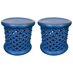 Pair of Blue Painted Cameroon Stools perfect for a resting spot in a loggia or porch. Table Furniture, Cool Furniture, Yves Klein Blue, Vintage Stool, Modern Side Table, Modern Chairs, Home Decor Accessories, Pattern Design, Pairs