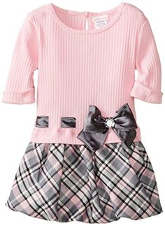 Youngland Little Girls' Plaid Twofer Dress, Pink/Gray, - Click image twice for more info - See a larger selection girls------------could do this as diy Baby Girl Dress Patterns, Little Girl Outfits, Little Dresses, Little Girl Dresses, Baby Dress, Kids Outfits, Girls Dresses, Dress Girl, Pink Dresses