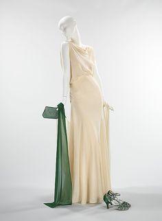 Ensemble, Evening  (a, b) Valentina  (American, born Russia, 1899–1989)  Manufacturer: (c–e) Delman (American, founded 1919) Date: 1930 Culture: American Medium: silk, leather