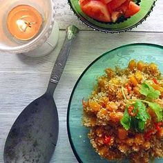 Delicious vegan Pumpkin Cous Cous flavored with warm spices of cumin, coriander, ginger, and cinnamon reminiscent of North Africa. Couscous Recipes, Vegan Pumpkin, Vegetable Side Dishes, North Africa, Coriander, Quinoa, Entrees, Cinnamon, Clean Eating