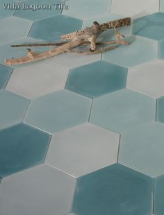 """""""Mixed Aqua Hex"""". This is an assortment of single-color 8"""" hexagonal cement tile, using Atmosphere, Bimini, and Seaside Blue from the South Beach Palette. This group is perfect for a seaside location, or any project with a coastal heart. Even the names of the colors chosen paint a beautiful Bahamian picture: Sitting on a Bimini beach looking out where the Atmosphere meets the Seaside."""