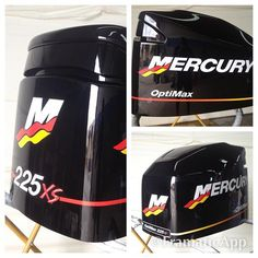 2003 Mercury Optimax 225 XS refinished and marked with OEM decals. #outboardpaintshop #outboardrestoration #outboardrefinishing #outboards #mercurymarine #mercuryoutboards #lookinggoodonthewater #boatlife #boating #boats #miamiboatlife #offshorelife #offshorefishing #saltlife #fishing #flatsfishing #tournamentfishing #fishing by outboardpaintshop