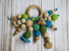 Natural wood teether Teething ring crochet Wooden teether Rattle toy, turquoise and green Baby toys Nursery gift Babyshower Eco friendly toy