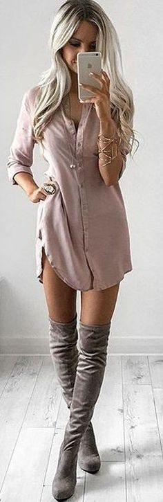 #summer #feminine #outfits | Blush Shirt Dess