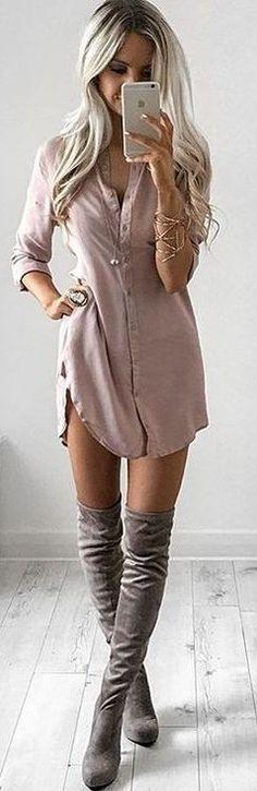 #summer #feminine #outfits | Blush Shirt Dess