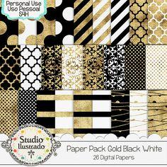 Paper Pack Gold Black White, papéis, papel, paper, preto, branco, dourado, ouro, gold, black, white, bolinha, polka dots, poá,  stripes, listras, arabescos, arabescs,