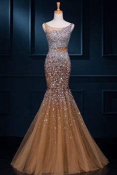 Sequined beaded crystal sexy backless prom dresses mermaid evening gown custom