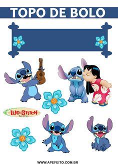 Topo de bolo - Festa tema Lilo e Stitch Lilo And Stitch Cake, Lelo And Stitch, Lilo Y Stitch, Disney Stitch, Happy Birthday Cake Topper, 1st Boy Birthday, Happy Birthday Printable, Diy Crafts To Do, Stuffed Toys Patterns