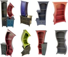 Real Furniture Storage Cabinets shape Curved