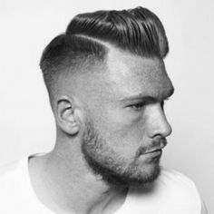 Short Pompadour with Side Parting for Men