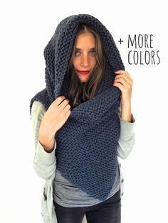 Chunky Soft Knit Poncho, Scarf, Cowl, Hood All in One