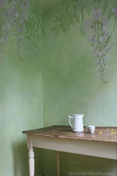wall painting, atelier transformations, wisteria, plants Source by Art Mur, Mural Wall Art, Mural Painting, Painting Studio, Wisteria Plant, Painted Doors, Wall Design, Room Inspiration, Room Colors