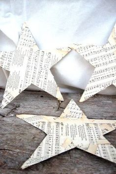 paper stars! ♥  Great idea to use old music sheets -- old books would be great, too