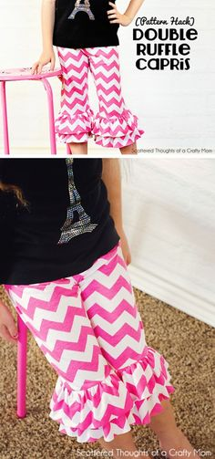 How to sew these darling ruffle pants, free pattern included (size 3 to 8)