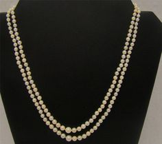 "CULTURED SALTWATER 2 STRAND GRADUATED PEARL NECKLACE 18""- 20"" KNOTTED 7mm-3.5mm #M #StrandString"