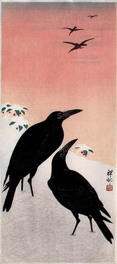 hanga gallery . . . torii gallery: Crows in the Snow by Ohara Koson