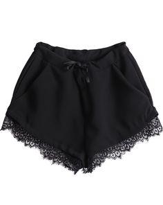 Shorts en dentelle avec poches taille coulissé -Noir