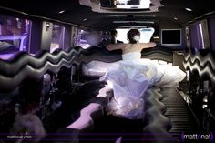 Bride in the limo, wedding photography