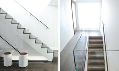 Love these stairs. But worried little kiddie gross hands will make it dirty constantly. Monochromatic Color Scheme, Interior Design Studio, Glass Panels, Hallways, Color Schemes, Stairs, Hands, Grey, Modern