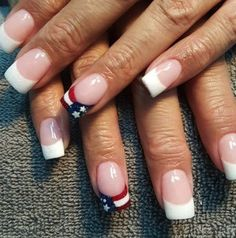 patriotic nails - American Manicure - Patriotic Fourth Of July Nail Designs - Photos - Nail Tip Designs, Acrylic Nail Designs, July 4th Nails Designs, Acrylic Nails, 4th Of July Nails, French Nail Designs, Fourth Of July, Coffin Nails, Acrylics