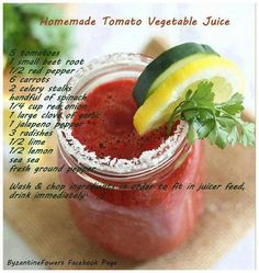 Homemade tomato vegetable juice