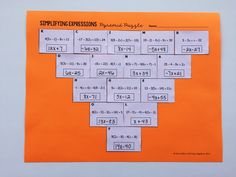 Simplifying Expressions Pyramid Puzzle