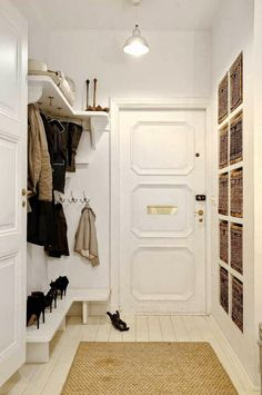 At Home: The Modern Mudroom. Bright, white and clean. And doesn& everyone keep their heels in the mudroom? Attic Storage, Built In Storage, Closet Storage, Hallway Shelf, Entry Hallway, Entry Closet, Room Closet, Attic Closet, Attic Renovation