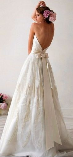 Backless Strapless Beaded Wedding Dress