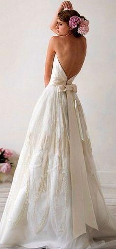 Backless Strapless Beaded Wedding Dress