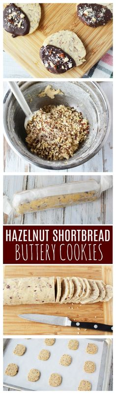 These Chocolate Dipped Hazelnut Shortbread Cookies are the perfect neighbor gift idea for the holidays. They are buttery, crunchy, and perfect for dipping in hot cocoa or coffee. If you're looking for a cookie recipe that will be one everyone is asking you a copy of, then this Christmas cookie is it. #cookie #hazelnut #shortbread #christmascookie #gift idea #neighborgifts #shortbreadcookies #hazelnutcookies
