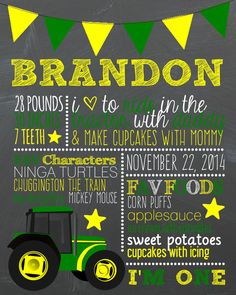 John Deere Green Tractor BIRTHDAY POSTER Digital by MADEforMEshop, $15.00