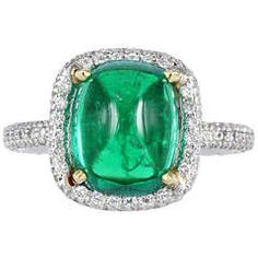 4.01 Carat Cabochon Columbian Emerald Diamond Solitaire Ring | From a unique collection of vintage fashion rings at https://www.1stdibs.com/jewelry/rings/fashion-rings/