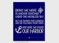 Anchored Love Nautical Print, with Compass and Anchor, You Choose The Colors, Great for Bedroom, Living Room or Kitchen Art