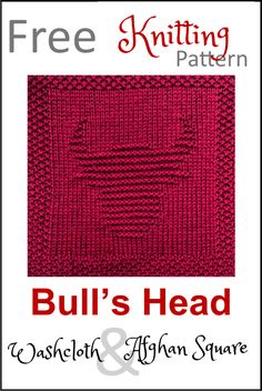 Free Bull's Head Dishcloth or Afghan Square Knitting Pattern Knitted Dishcloth Patterns Free, Knitted Washcloths, Knit Dishcloth, Knitting Patterns Free, Free Knitting, Baby Knitting, Knitting Stiches, Loom Knitting, Knitting Squares