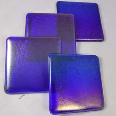 Fused Glass Coasters with Iridescent Sapphire Blue - set of 4